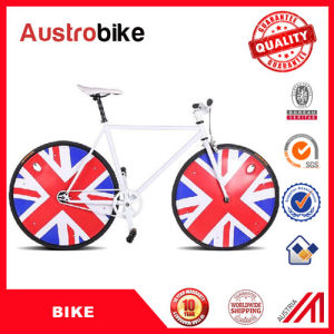China Cheap Aluminum Fixed Gear Bike 26 Inch Blue White Color with European Components for Sale with Leather Saddle pictures & photos