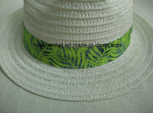 Paper Braid Sewn Braid White Color Printed Band Tropical Band Fedora Straw Hat pictures & photos