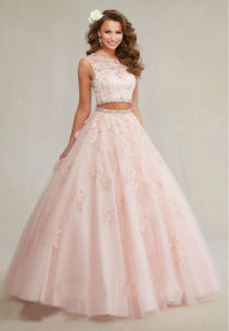 Lace Tulle Formal Ball Gown Two Pieces Blue Pink Quinceanera Prom Dress Ya63 pictures & photos