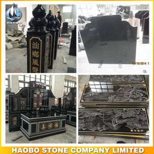 Solid Polished Black Granite Pillar and Round Ball pictures & photos