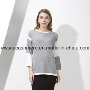 Women′s Color Block Top Grade Pure Cashmere Knitwear Ew16A003