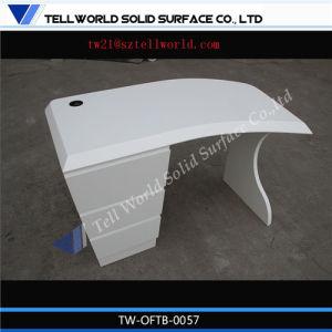 Latest Design White Blue Round Shaped Corian Executive Desktop Manager Desk Counter Office Desk Exporter pictures & photos