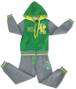 Cotton Fleece Children Boy Cardigan Hooded Suits Sets Track Suit in Children Clothes with String Swb-106 pictures & photos