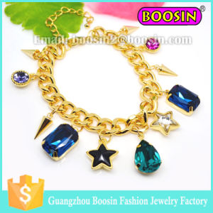 Custom Shamballa Jewelry Gemstone Charm Gold Chain Bracelet for Women pictures & photos