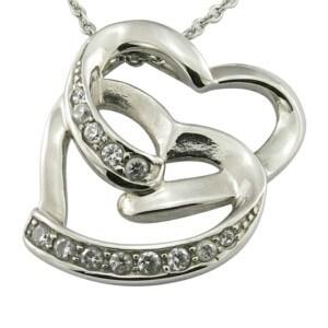CZ Stone Dobule Heart Necklace pictures & photos