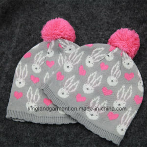 100% Acrylic Knitted Hat with Bow for Babies pictures & photos