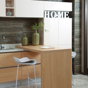Oppein Contemporary Cherry Melamine T Shape Modular Kitchen Cabinets (OP15-053) pictures & photos