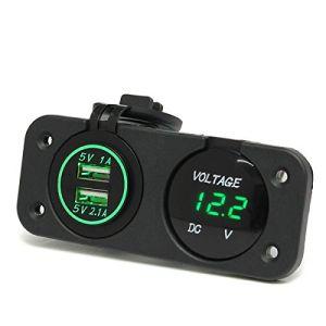 Car Motorcycle Waterproof Dual USB Port Car Charger Socket Adapter Mount with LED Digital Display Voltmeter Voltage Meter Gauge 12V 24V pictures & photos
