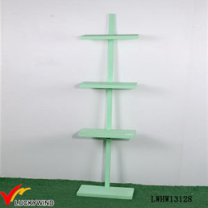 Nice Green Paint 4 Tiered Free Standing Wooden Floor Shelf pictures & photos