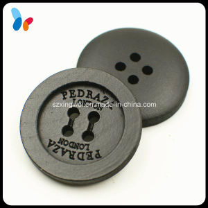 Custom 28mm Coated Black Color 4-Hole Wood Sew Button pictures & photos