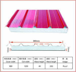 980 Mm Glass Wool Sandwich Panel