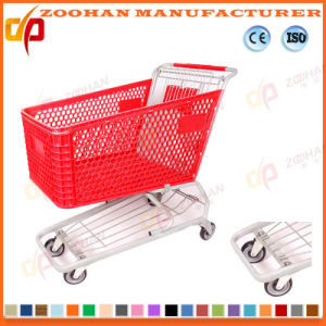 Supermarket Shopping Plastic Cart Basket Trolley (ZHt286) pictures & photos