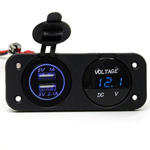 Car Motorcycle Waterproof Dual USB Port Car Charger Socket Adapter Mount with LED Digital Display Voltmeter Voltage Meter Gauge 12V 24V pictures & photos
