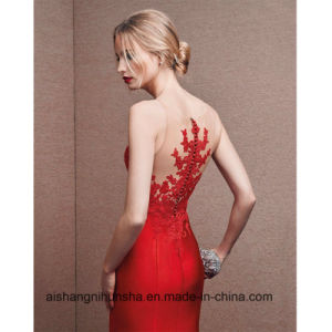 New Fashion Red Satin with Appliques Mermaid Prom Dresses pictures & photos