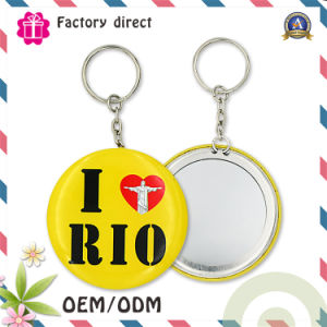 2016 Hot Selling 75mm Lady Gift Keychain Mirror Portable Tin Plate Cosmetic Mirror pictures & photos