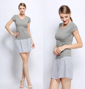 OEM 100% Cotton Short Sleeve Women Blouse pictures & photos