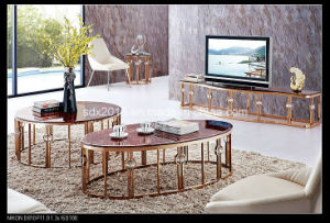 Modern Marble Paper Oval Coffee Table with Gold Stainless Steel pictures & photos