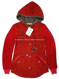 Women′s Fleece Butoon Jacket with Hoody