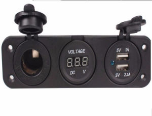Car Cigarette Lighter Socket Dual USB Adapter Charger Digital Voltmeter pictures & photos