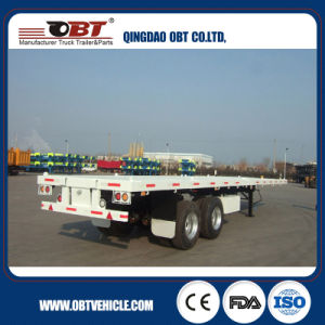 Two-Axle Flatbed Container Semi Truck Trailer pictures & photos