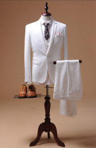 White Made to Measure Mens Clothing Wedding Suit for Men