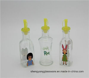 Hot Sell Widely Used in Kitchenware Cartoon Decal Glass Oil Bottle pictures & photos