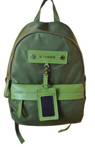 Newly Ladies Nylon and Leather Backpack (BS13518) pictures & photos