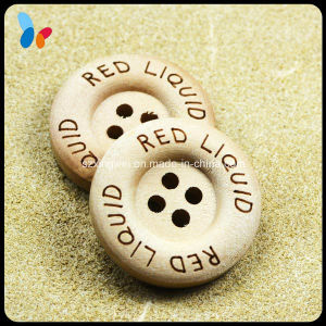 Custom Laser Word Logo Round 4 Holes Wooden Sweater Button pictures & photos