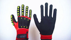 Fully Coated Sandy Nitrile Nylon Gloves with TPR Sewing