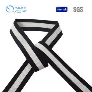 Black Grip Silicone Printing Knitted Non-Slip Logo Polyester Elastic Webbing pictures & photos