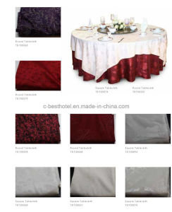 100% Microfiber Hotel Restaurant Jacquard Table Cloth pictures & photos