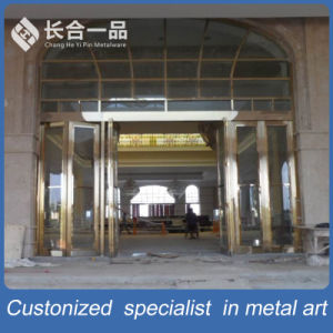 High-End Customized Entrace Front Golden Sainless Steel Door with Frame pictures & photos