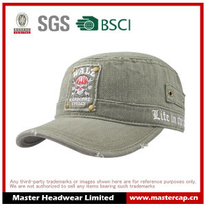 100% Cotton Embroidery Logo OEM Design Washed Army Cap for Men pictures & photos