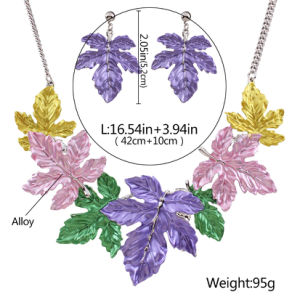 Fashion Metal Alloy Bohemia Colorful Leaves Statement Choker Necklace Earring Jewelry pictures & photos