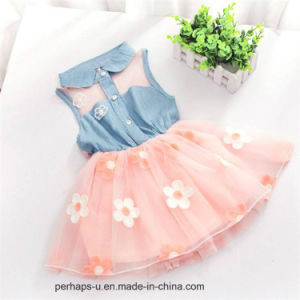 High Quality Girl′s A-Line Dress with Embroidery Design pictures & photos