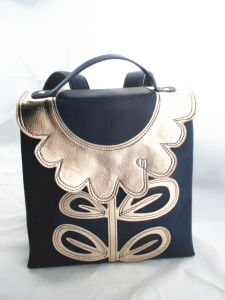 Navy Blue Flower PU Satchel Backpack pictures & photos
