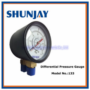 Black Steel Case Dual Pointer Differential Pressure Gauge pictures & photos