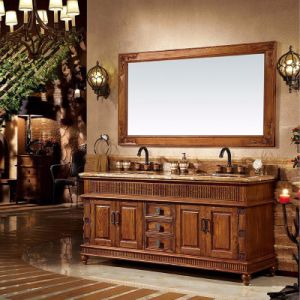 Rustic Style Bathroom Furniture Double Vanity Cabinet (GSP14-041) pictures & photos