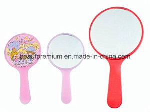 Fashion Plastic Make up Handle Mirror and Cartoon Pattern Printing BPS075