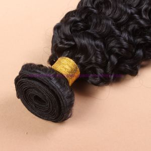 Peruvian Virgin Hair with Closure Beach Waves 4X4 Lace Closure with Bundles Deep Curly Water Wave Human Hair Weaving with Bundles pictures & photos