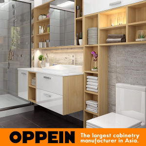 Oppein Wall-Mounted Laminate Bathroom Vanity with Mirror (BC17-HPL01) pictures & photos