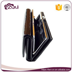 Small Black Genuine Leather Women Metal Frame Wallet with High Quality pictures & photos