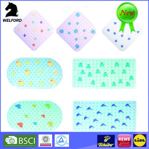 Fashion Custom Print Oval Shape PVC Plastic Bath Mats