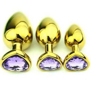 Large Size Golden Heart Shaped Stainless Steel Crystal Jewelry Anal Butt Plug pictures & photos