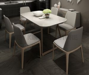 Nordic Modern Tempered Glass Dining Table Set 6 Chairs (NK-DTB102)
