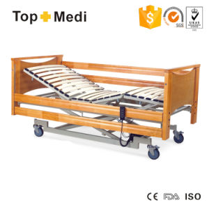 Topmedi Cheap Price Wooden Electric Power Hospital Bed with FDA Ce pictures & photos