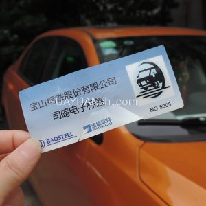 Parking System RFID UHF Vehicle Windshield Sticker Brittle Tag pictures & photos