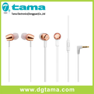 3.5mm Stereo Metal Head L-Shaped Earphone with Microphone Cheap Price pictures & photos