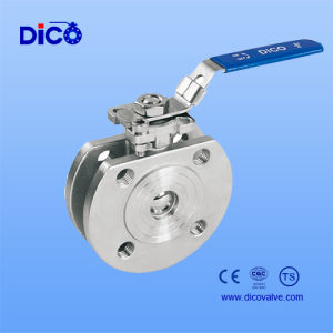 Ce Certificate Stainless Steel Wafer End Ball Valve with Handle pictures & photos