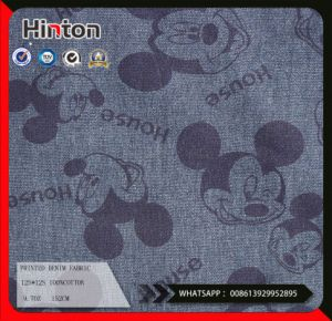 latest Designs 100%Cotton Printed Denim Fabric 9.7oz pictures & photos
